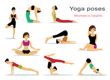 Yoga poses for women. Beautiful sport girls doing yoga. Flat style. Royalty Free Stock Photos