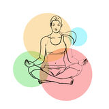 Yoga poses, yoga pants on a colored background Royalty Free Stock Photo