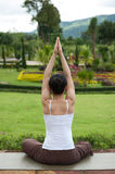Yoga posing in garden Stock Image