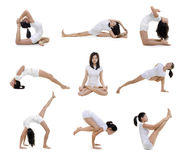 Yoga position. Collection of woman in yoga on white background Stock Image