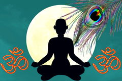 Yoga position with oim icon and peacock feather over moon background. Yoga Religion hinduism meditation related Blog art banner web design concept background stock image