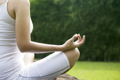 Yoga position shot outdoor Royalty Free Stock Photography