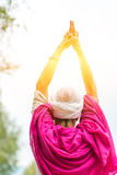 Yoga position in the sun Royalty Free Stock Photography