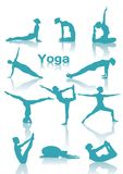 Yoga positions green silhouettes Stock Photography