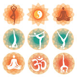 Yoga_positions_icons_backgrounds 免版税图库摄影