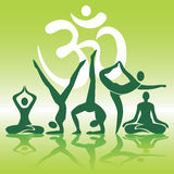 Yoga positions silhouettes on green background Royalty Free Stock Photos