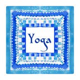 Yoga poster with an ethnic watercolor pattern. Stock Photo