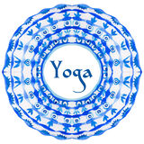 Yoga poster with an ethnic watercolor pattern. Royalty Free Stock Image