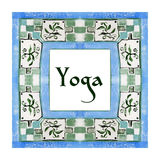Yoga poster with an ethnic watercolor pattern. Royalty Free Stock Images