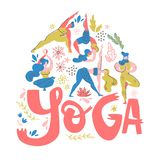 Yoga poster in folk scandinavian style with yogis, plants and lettering. Flat vector illustration. Bright colors royalty free illustration