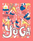 Yoga poster in folk scandinavian style with yogis, plants and lettering. Flat vector illustration. Bright colors stock illustration