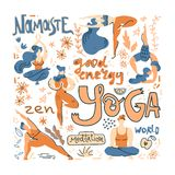 Yoga poster in folk scandinavian style with yogis, plants and lettering. Flat vector illustration. Bright colors vector illustration