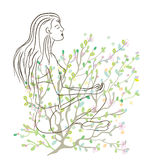 Yoga poster with girl sketch and nature background Royalty Free Stock Images