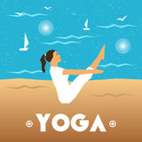 Yoga poster with a girl in the yoga pose on a sea background. Stock Photo