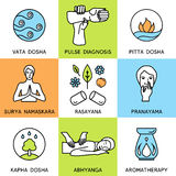 Set linear icons for ayurveda design.  Royalty Free Stock Photo