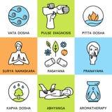 Set linear icons for ayurveda design. royalty free illustration