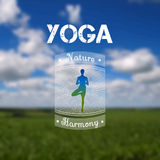Yoga poster with a natural landscape.  EPS,JPG. Vector yoga illustration. Name of yoga studio on a nature background. Yoga class motto. Yoga sticker with a Stock Photography