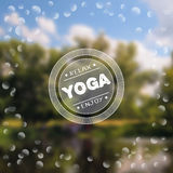 Yoga poster with a natural landscape.  EPS,JPG. Vector yoga illustration. Name of yoga studio on a nature background. Yoga class motto. Yoga sticker with a Stock Images