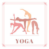 Yoga poster with silhouettes of women in the yoga poses on a white background. Royalty Free Stock Photos
