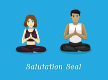 Manga Style Cartoon Yoga Salutation Seal Pose Royalty Free Stock Images
