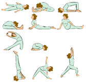 Yoga postures. Woman in Yoga Position (Multiple Poses Stock Photography
