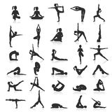 Yoga postures exercises set. Royalty Free Stock Images