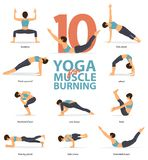 Yoga postures female figures Infographic . 10 Yoga poses for Muscle Burning in flat design. Set of yoga postures female figures Infographic . 10 Yoga poses for royalty free illustration