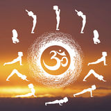 Yoga. Postures-practice-Surya-Namaskar.-Logo-for-the--studio.-The-sun-and-the-symbol-of-OM Stock Images
