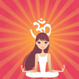 Yoga power. Pretty lady doing yoga outdoor vector illustration