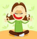 Yoga practicante de la muchacha de la historieta Foto de archivo libre de regalías