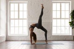 Yoga practicante de la mujer, colocándose en una rueda legged, actitud del puente foto de archivo libre de regalías