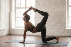 Yoga practicante de la mujer hermosa, haciendo ejercicio del tigre, actitud del perro de caza imagenes de archivo