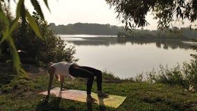 Yoga practicante de la mujer joven en la puesta del sol al aire libre almacen de video