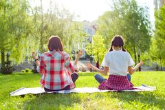 Yoga practicante del adolescente de la mamá y de la hija en el parque Foto de archivo libre de regalías