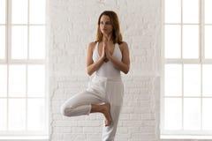 Yoga practicante hermosa de la mujer joven, colocándose en Vrksasana, postura del árbol imágenes de archivo libres de regalías