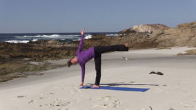 Yoga Practice on California Beach stock video