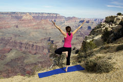 Yoga Practice at Grand Canyon Stock Photos