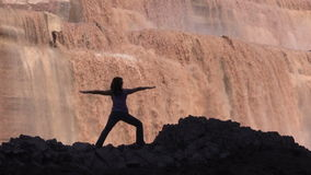 Yoga Practice at Grand Falls stock video footage