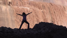 Yoga Practice at Grand Falls Zoom Out stock video