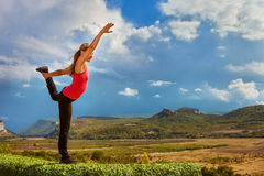Yoga practice outdoor Stock Photos