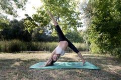 Yoga Practice Pregnant Woman Outdoor. Selective focus Stock Photo