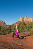 Yoga Practice in the Red Rocks Royalty Free Stock Photos