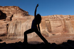Yoga Practice Silhouetted at Falls Stock Photos