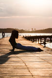 Yoga practice during sunset Royalty Free Stock Images
