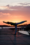 Yoga practice during sunset Royalty Free Stock Photos