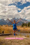 Yoga Practice in the Tetons Stock Image