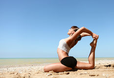 Yoga practice into the wild Royalty Free Stock Image