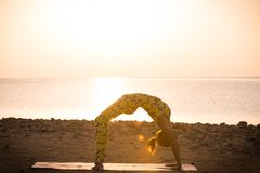 Yoga practice. Woman doing bridge pose Royalty Free Stock Photo