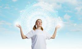 Yoga practicing Stock Image