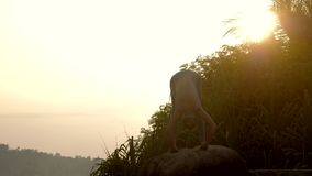 Yoga practitioner does forward bending on rock slow motion. Yoga practitioner does forward bending to knees on rock and bird flies in morning at bright rising stock footage